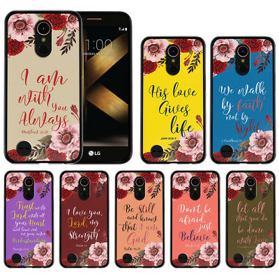 "For LG K20 Plus/ K20 V/ K10 2017 5.3"" Bible Verses TPU Black Silicone Case Cover"