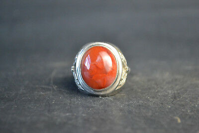 Collectible China tibet silver carve butterfly inlay red jade adjust nice Ring