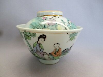 Antique Chinese Porcelain Covered Rice Bowl Famille Rose 19th early 20th Century