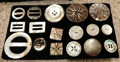 """Lot of 17 Antique Victorian Carved Mother of Pearl Shell Buttons - 3/4"""" - 1 3/4"""""""