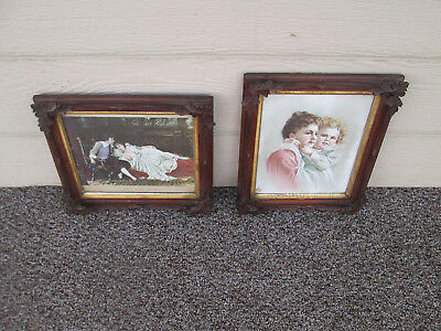 ART 13:   Pair Antique Victorian Carved Walnut Picture Frames with prints
