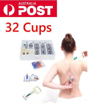 32 Cups Set Vacuum Massage Cupping Kit Acupuncture Suction Massager Pain Relief