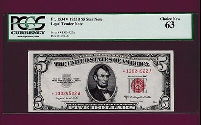 Fr.1534  $5  1953 B   STAR  LEGAL TENDER UNITED STATES NOTE  SN 13024522 A  PCGS