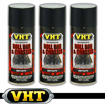 VHT High Temperature Spray Paint ROLL BAR + CHASSIS SATIN BLACK x 3 rollbar