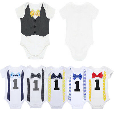 Girls Boys First 1st Birthday Clothes Party Baby Toddler Romper Bodysuit Outfits