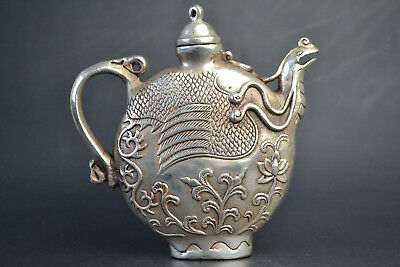 China Culture Style Old Tibet Silver Phoenix Totem Noble Exquisite Teapot