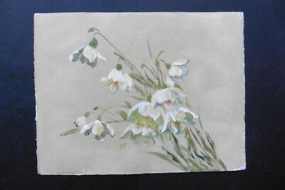 FRENCH SCHOOL 1930s - LARGE SIZE STUDY OF FLOWERS - MONOGRAMMED WATERCOLOR