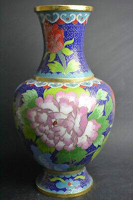 9.25inch Collectibe Old Cloisonne Hand-carved Flower Royal Blue Decor Big Vase