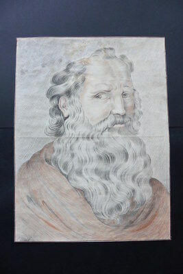 FRENCH SCHOOL 18thC - NEOCLASSICAL PORTRAIT BEARDED MAN SIGN. DURAND - CHARCOAL