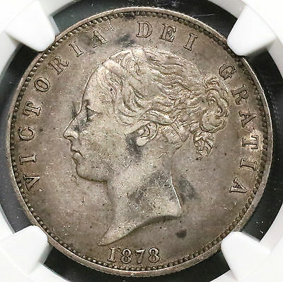 1878 NGC VF 35 Silver 1/2 Crown Victoria GREAT BRITAIN (16111123C)