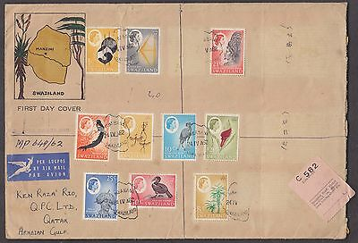 Swaziland 1962 Rare Qe 10 Values On Registered Packet To Qatar Arabia