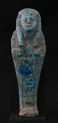 antique Shabti / Ushabti, faience, wig, no beard, 2x hoe, hieroglyphs 13,4cm