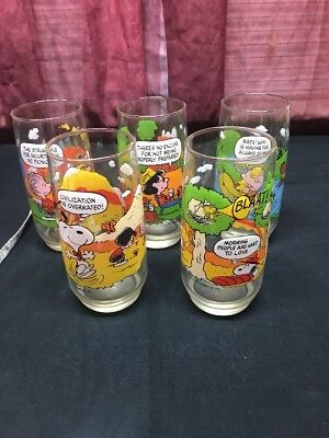 McDonald's CAMP SNOOPY COLLECTION GLASSES Complete Set of 5.