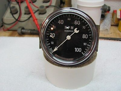Stewart Warner crescent pointer 3in 10K tachometer curved glass cable driven