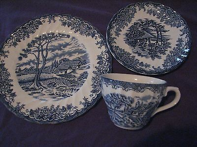 3 pcs PLACE SETTING blue transferware MYOTT THE BROOK cup saucer plate Tennyson