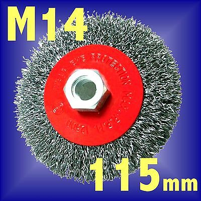 Silverline 115mm Rotary Steel Wire Brush Crimp Bevel wheel cup Angle Grinder M14