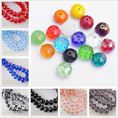 10pcs 14mm Rondelle Faceted Crystal Glass Loose Beads Wholesale Lots 43Colors