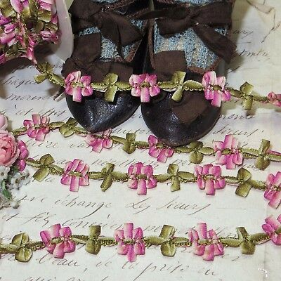1y MOKUBA PINK OMBRE ROCOCO ROSETTE RIBBON VTG FRENCH DOLL DRESS TRIM ANTQ WORK