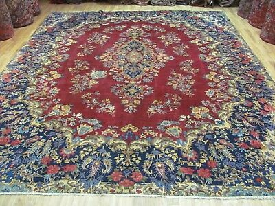 A FASCINATING OLD HANDMADE YAZD PERSIAN CARPET (365 x 285 cm)