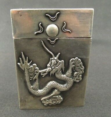 Antique Chinese Sterling Silver Dragon Cigarette Case