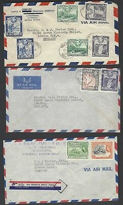 British Guiana thirteen commercial 1950's airmail covers to UK