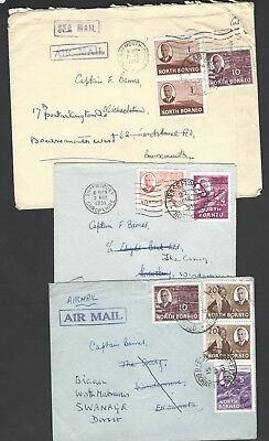 North Borneo three KGVI commercial Air Mail covers to UK