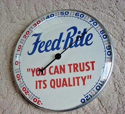RARE NEAR MINT 1961 Vintage MASTER MIX FEED RITE FEEDS Old Pam Thermometer Sign