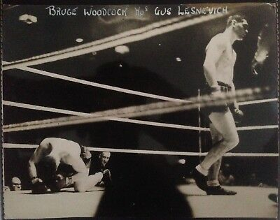 Superb Rare Vintage Photograph Bruce Woodcock Knocks Out Gus Lesnevich 1946!!