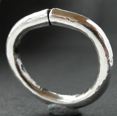 LARGE GENUINE NORSE SILVER TORC RING - wearable