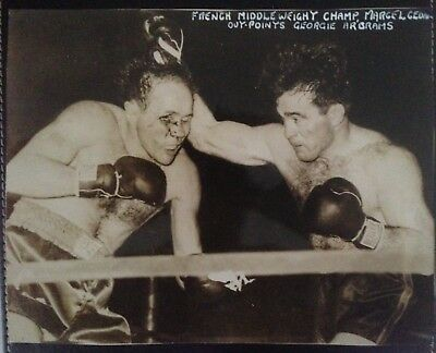 Superb Rare Vintage Photograph Marcel Cerdan And Georgie Abrams In Action 1946!!