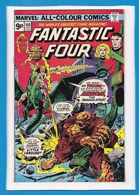 Fantastic Four #160_July 1975_F/vf_Quicksilver_Arkon_Lockjaw_Bronze Age_Uk!
