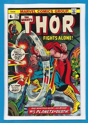 """Mighty Thor #218_Dec 1973_Very Good_""""thor Fights Alone""""_Bronze Age Marvel Uk!"""