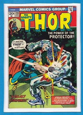 """Mighty Thor #219_January 1974_Fine+_""""the Power Of The Protector""""_Bronze Age!"""