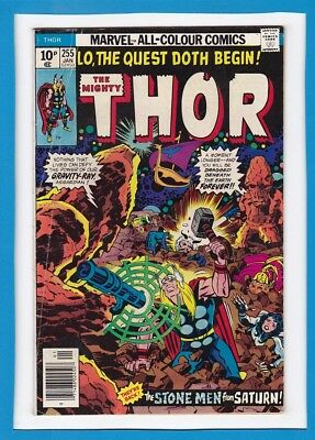 """Mighty Thor #255_January 1977_Fine+_""""the Stone Men From Saturn""""_Bronze Age_Uk!"""