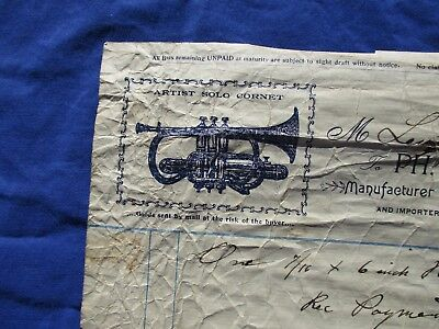 1897 Philip Frederick,(Military Band Cornet Instrument Maker) SIGNED Letterhead!