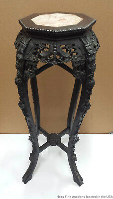 36in Antique Late Qing Carved Rosewood Hardwood Marble Chinese Plant Stand