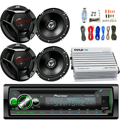 "400W Bluetooth 4 Channel Amplifier, CD USB Receiver, Amp Kit, JVC 6.5"" Speakers"