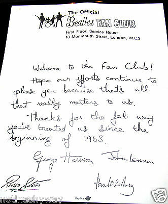 BEATLES Fan Club Letter Signed by all 4 Band Members Rock n Roll Pop Music Retro