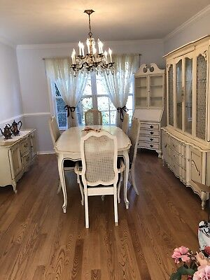 Vintage French Provincial Dining Room Set Table, Chairs & Hutch MUST GO!!!!