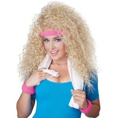 Womens 80s Get Physical Wig & Bands 1980s Retro Costume Party Hair Accessory