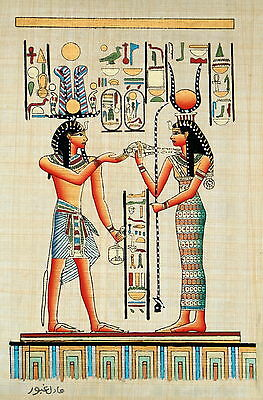 "Egyptian Papyrus - Hand Made- 9"" x 13"" Hathor Presenting Necklace to Ramses"