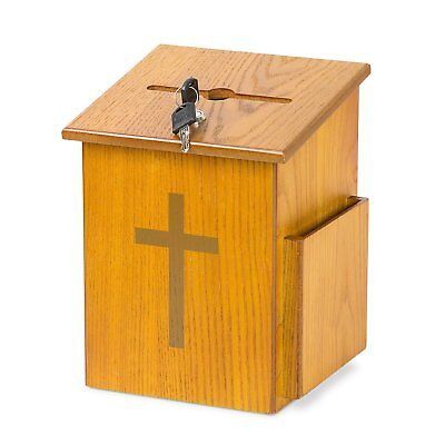 Source One Wooden Church Offering Donation Box w/Cross 1 Pack, Medium