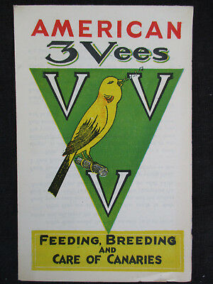 VINTAGE 1930s 3 VEES PET CAGE BIRD FOOD CO BREEDING & CARE OF CANARIES BOOKLET