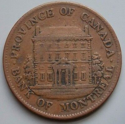 1844 PC-1B3 Province Of Canada Canadian 1/2  Penny Bank Of Montreal Token