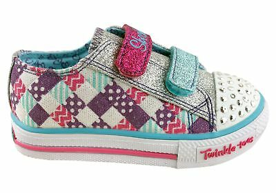 New Skechers Toddler/girls S Lights Shuffles Patchwork Gal
