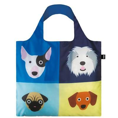 LOQI Grocery Shopping Fold Reusable TOTE BAG Washable PUPPY PUG SHEEPDOG TERRIER