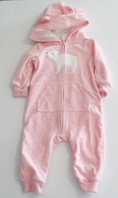 XNWT Carters Baby girls Hooded Fleece Jumpsuit Clothes 6 9 12 18 24 months polka