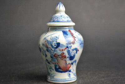 China Collectible Antique Porcelain Drawing Picture of war little with lid