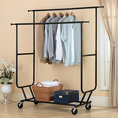Commercial Heavy Duty Clothing Garment Rolling Collapsible Double Steel Black