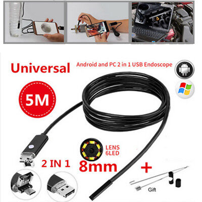 Video Inspection Camera Endoscope 8 MM Android USB Borescope Spy Snake 5m